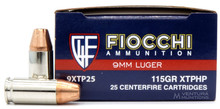 Fiocchi Extrema 9mm 115gr XTP HP Ammo - 25 Rounds