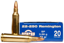 Prvi Partizan 22-250 Remington 55gr SP Ammo- 20 Rounds