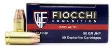 Fiocchi 380 ACP 90gr JHP Ammo- 50 Rounds