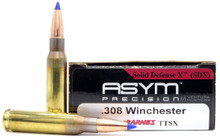 ASYM Precision Solid Defense X .308 Win 168gr Barnes Tipped Triple-Shock X Boat Tail Ammo- 20 Rounds
