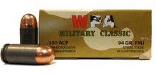 Wolf Military Classic 380 ACP 94gr FMJ Steel Case Ammo- 50 Rounds