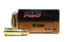 PMC Bronze 25 ACP 50gr FMJ Ammo - 50 Rounds