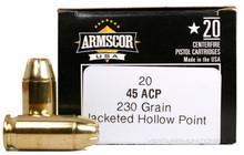 Armscor 45 ACP 230gr JHP Ammo - 20 Rounds