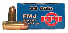 Prvi Partizan 32 ACP 71gr FMJ Ammo - 50 Rounds