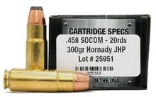Ventura Tactical 458 Socom 300gr Hornady JHP Ammo - 20 Rounds
