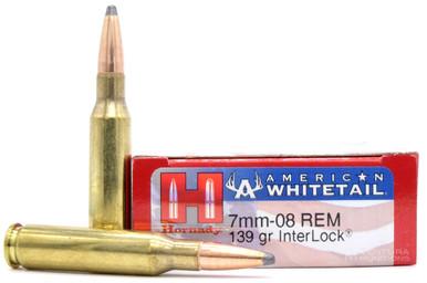 Hornady American Whitetail 7mm-08 Remington 139gr Interlock Spire Point Ammo- 20 Rounds