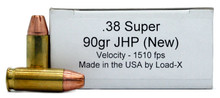 Load-X 38 Super 90gr JHP Ammo - 50 Rounds