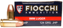 Fiocchi Shooting Dynamics 9mm 124gr JHP Ammo - 50 Rounds