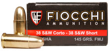 Fiocchi Shooting Dynamics 38 S&W Short 145gr FMJ Ammo- 50 Rounds
