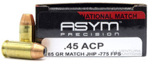 Asym Precision 45 ACP 185gr National Match Target JHP Ammo- 50 Rounds