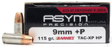 ASYM Precision Solid Defense X 9mm +P 115gr Barnes TAC-XP Ammo - 20 Rounds