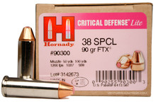 Hornady 38 Special 90GR FTX Critical Defense Lite Ammo- 25 Rounds