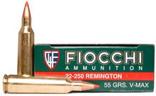 Fiocchi 22-250 Rem 55gr V-Max Ammo - 20 Rounds
