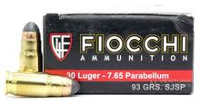 Fiocchi .30 Luger/7.65 Parabellum 93gr JSP Ammo - 50 Rounds