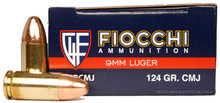 Fiocchi Shooting Dynamics 9mm 124gr CMJ Ammo - 50 Rounds
