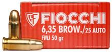Fiocchi 25 ACP 50gr FMJ Ammo - 50 Rounds