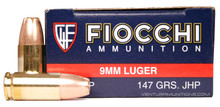 Fiocchi 9mm 147gr JHP Ammo - 50 Rounds