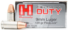 Hornady Critical Duty 9mm 135gr FlexLock Ammo - 25 Rounds
