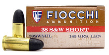 Fiocchi Shooting Dynamics 38 S&W Short 145gr Lead Round Nose Ammo - 50 Rounds