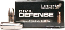 Liberty Civil Defense 9mm 50gr +P Fragmenting HP Ammo - 20 Rounds