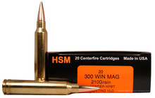 HSM Trophy Gold 300 Win Mag 210gr Match VLD Ammo - 20 Rounds