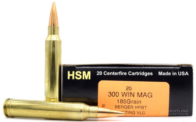 HSM Trophy Gold 300 Win Mag 185gr Match VLD Ammo - 20 Rounds