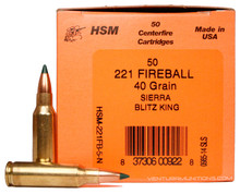 HSM .221 Fireball 40gr Blitzking Ammo - 50 Rounds