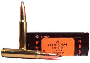 hsm 338 winchester magnum 215gr gameking ammo 20 rounds ventura