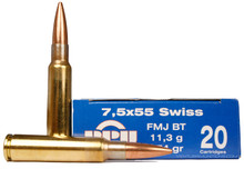 Prvi Partizan 7.5x55 Swiss 174gr FMJ Ammo - 20 Rounds