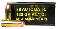 Precision Cartridge 38 Auto 130gr TMJ-RN Ammo - 50 Rounds