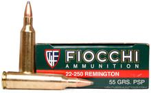 Fiocchi 22-250 Rem 55gr PSP Ammo - 20 Rounds
