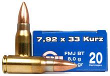 Prvi Partizan 7.92x33 Kurz 124gr FMJ-BT Ammo - 20 Rounds