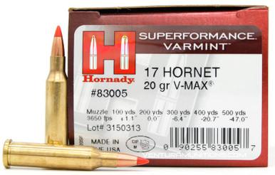 Hornady Superformance 17 Hornet 20gr V-Max Ammo - 25 Rounds