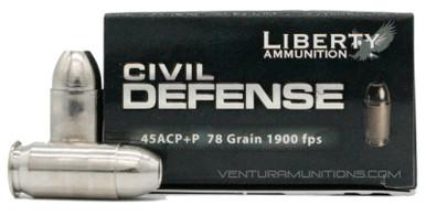 Liberty Civil Defense 45ACP 78gr +P Fragmenting HP Ammo - 20 Rounds