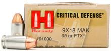 Hornady Critical Defense 9x18 Makarov 95gr FTX Ammo - 25 Rounds