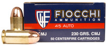 Fiocchi Shooting Dynamics 45 ACP 230gr CMJ Ammo - 50 Rounds