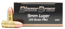 Blazer Brass 9mm 124gr FMJ Ammo - 50 Rounds