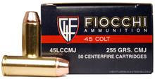 Fiocchi 45 Long Colt 225gr CMJ Ammo - 50 Rounds