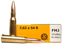 Sellier and Bellot 7.62x54R 180gr FMJ Ammo - 20 Rounds