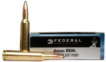 Federal Classic 6mm Remington 100gr Hi-Shok SP Ammo - 20 Rounds