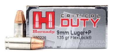 Hornady Critical Duty 9mm 135gr +P Flex Lock Ammo- 25 Rounds