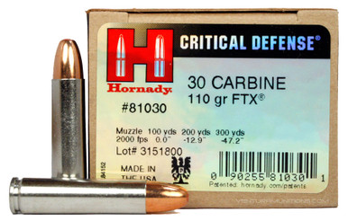 Hornady Critical Defense 30 Carbine 110gr FTX Ammo - 25 Rounds