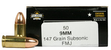 Armscor 9mm 147gr FMJ Subsonic Ammo - 50 Rounds
