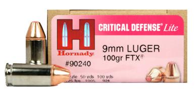 Hornady Critical Defense Lite 9mm 100gr FTX Ammo - 25 Rounds