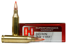 Hornady 243 Winchester 75gr Superformance Varmint V-Max Ammo - 20 Rounds
