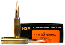 HSM 6.5x284 Norma 140gr Match Hunting VLD Ammo - 20 Rounds