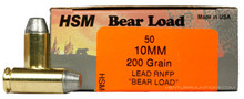 HSM 10mm 200gr RNFP-Hard Bear Load New Ammo - 50 Rounds