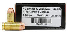 Lehigh Defense 40 S&W 115gr Xtreme Defense Ammo - 20 Rounds