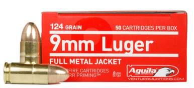 Aguila 9mm 124gr FMJ Ammo - 50 Rounds