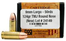 Ventura Heritage 9mm Largo 124gr TMJ Ammo - 50 Rounds